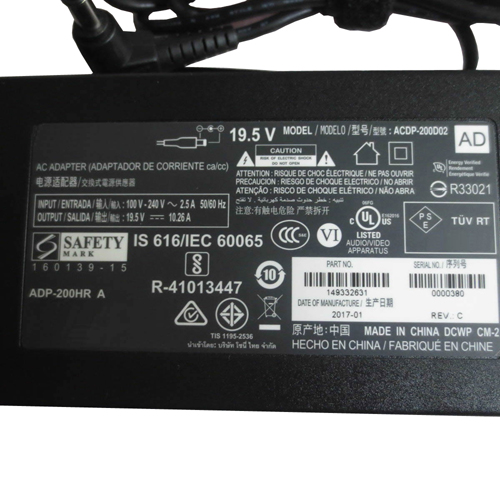 Batterie pour 100-240V~2.5A  50-60Hz (for worldwide use) 19.5V 10.26A, 200W SONY LCD TV